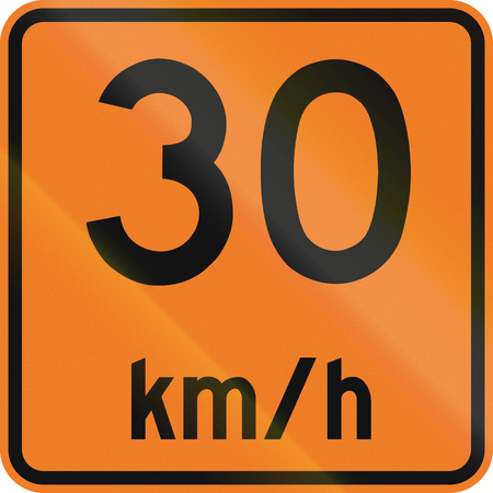 kmh: Temporary road sign in Canada - Speed limit 30 kmh. This sign is used in Ontario.