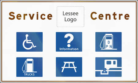 lessee: Service Centre Sign In Ontario - Canada, various service icons and copy space for lessee logo Stock Photo
