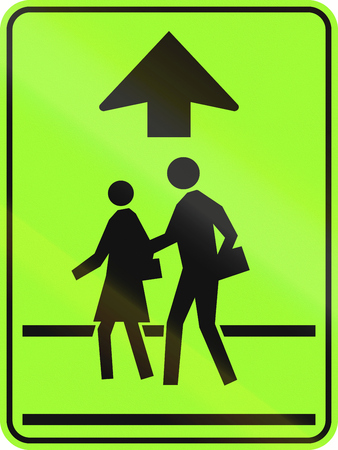 new rules: Canadian school crossing ahead warning sign, new green version. This sign is used in Ontario.
