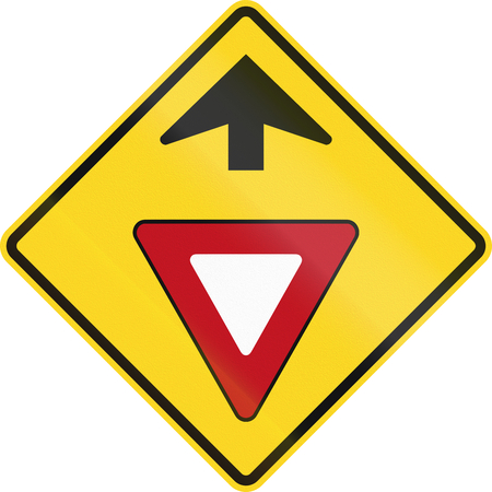 yield: Canadian road warning sign - Yield ahead. This sign is used in Ontario.