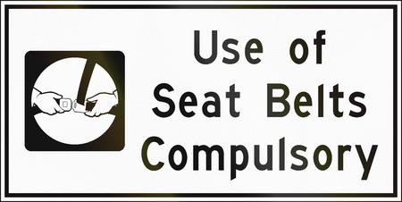compulsory: Guide Road Sign In Canada - Use of seat belts compulsory. This sign is used in Ontario.