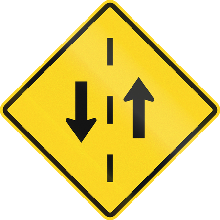 opposing: Warning road sign in Canada - Opposing traffic. This sign is used in Ontario.