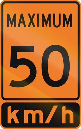 kmh: Temporary road sign in Canada - Speed limit 50 kmh. This sign is used in Ontario. Stock Photo