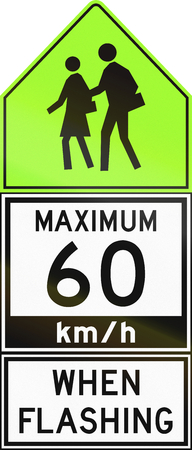 lurid: Canadian regulatory road sign - Maximum 60 kmh when flashing. This sign is used in Ontario.