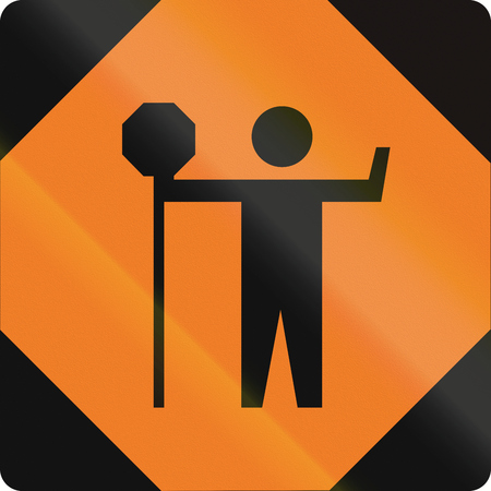 traffic warden: Canadian temporary traffic sign - traffic control person ahead. This sign is used in Ontario. Stock Photo