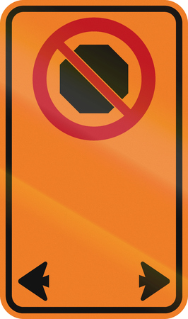 red handed: Temporary road sign in Canada - No Stopping. This sign is used in Ontario. Stock Photo