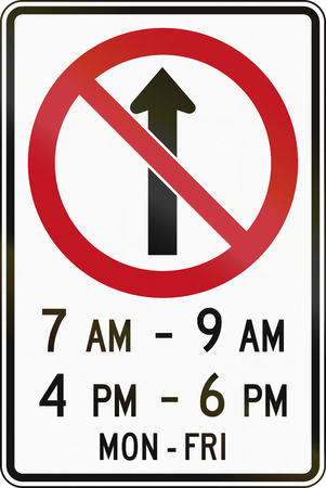 weekday: Canada traffic sign - No straight through in specified times. This sign is used in Ontario.