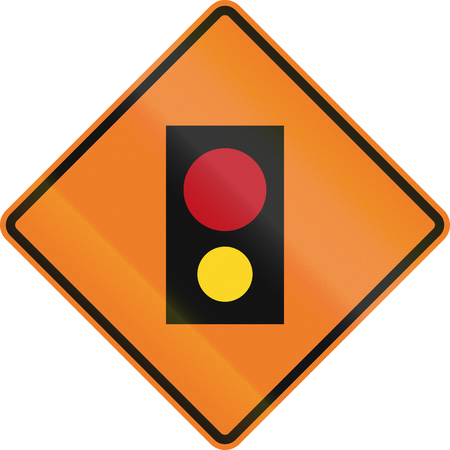 amber light: Canadian temporary road warning sign - remote control device. This sign is used in Ontario.