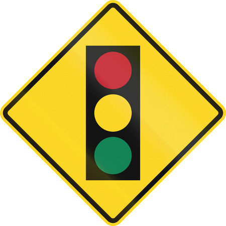 amber light: Canadian road warning sign - Traffic lights ahead. This sign is used in Ontario.