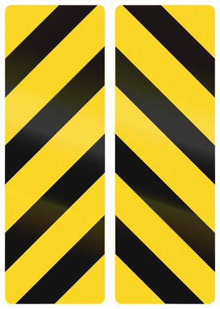 alignments: Collection of Canadian chevron alignments pointing down. This sign is used in Ontario. Stock Photo
