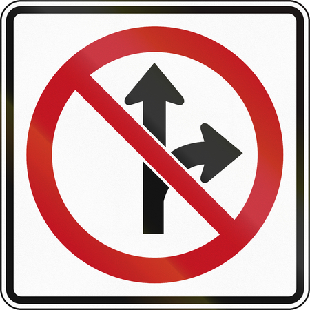 right handed: Canada traffic sign - No straight or right turn. This sign is used in Ontario.