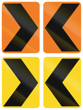 alignments: Collection of Canadian chevron alignments pointing to the left and right. This sign is used in Ontario. Stock Photo
