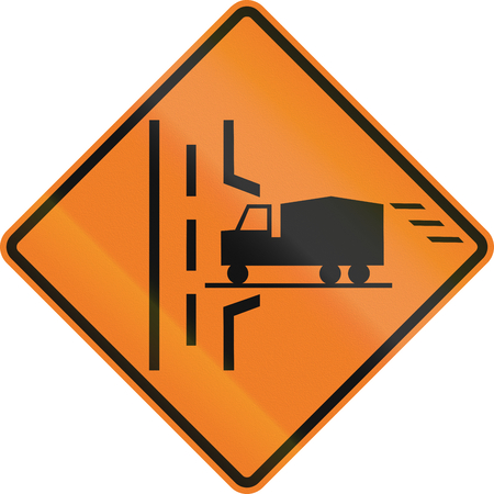 right handed: Roadworks sign in Canada - Truck entrance on the right. This sign is used in Ontario. Stock Photo