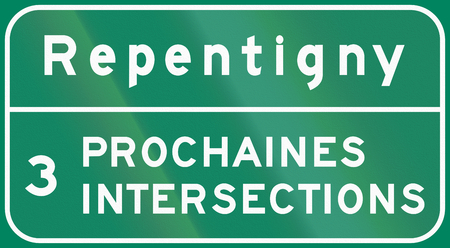 only 3 people: Guide and information road sign in Quebec, Canada - Intersection sign repentigny. 3 prochaines intersections means 3 following intersections. Stock Photo