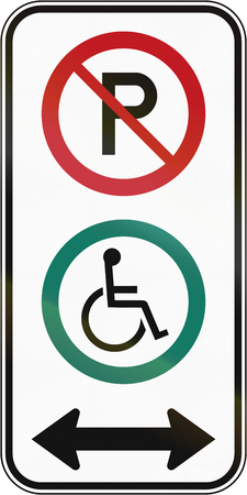 disabled parking sign: Canadian road sign - Disabled parking in both directions. This sign is used in Quebec.