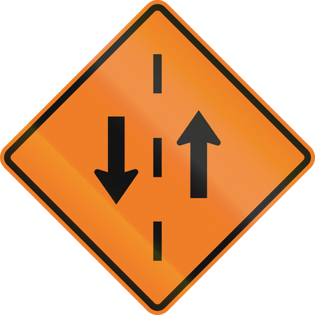 opposing: Temporary warning road sign in Canada - Opposing traffic. This sign is used in Ontario.