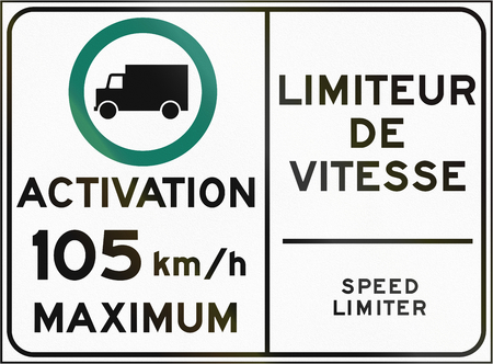 bilingual: Bilingual regulatory road sign in Quebec, Canada - Activation of speed limiter.