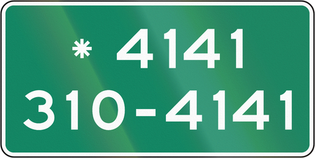emergency number: Guide and information road sign in Quebec, Canada - Emergency number for police. Stock Photo