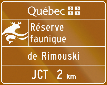 wildlife reserve: Guide and information road sign in Quebec, Canada - Wildlife reserve Rimouski