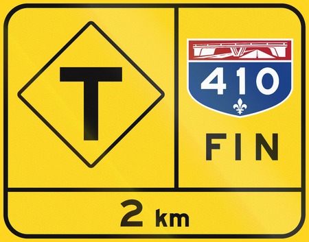 means to an end: Warning road sign in Quebec, Canada - End of highway, T-Intersection. Fin means end. Stock Photo
