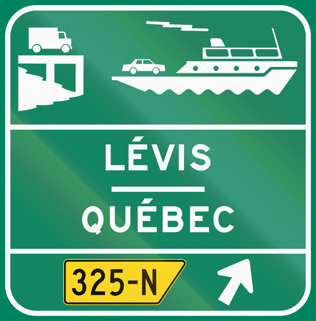right handed: Guide and information road sign in Quebec, Canada - Car Ferry. Stock Photo