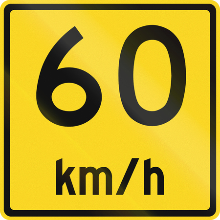 kmh: An Canadian warning traffic sign - Advisory speed 60 kmh. This sign is used in Ontario. Stock Photo