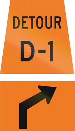 right handed: Canadian temporary road sign - Right Curve ahead for detour D-1. This sign is used in Ontario.