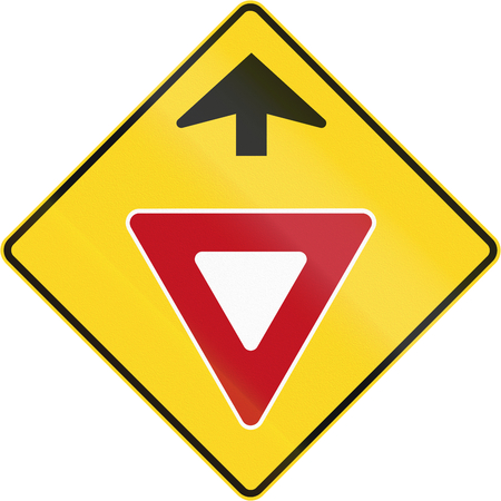 moving images: Canadian road warning sign - Yield ahead. This sign is used in Quebec.