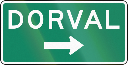 right handed: Guide and information road sign in Quebec, Canada - Direction sign to dorval