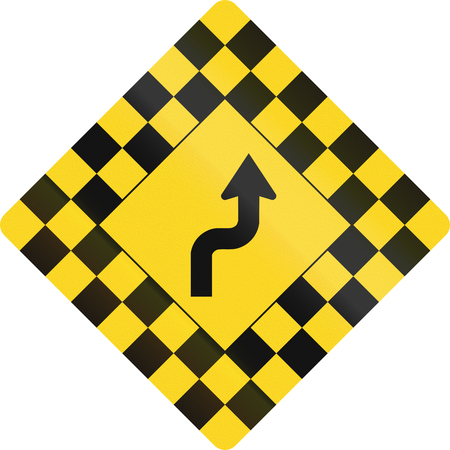 right handed: Checked warning road sign in Canada with reverse curve. This sign is used in Ontario.