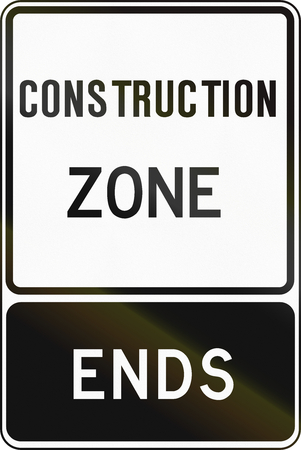 regulatory: Regulatory sign in Canada - Construction zone ends. This sign is used in Ontario. Stock Photo