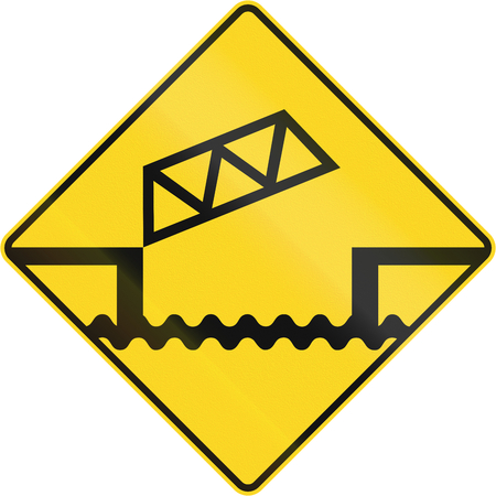 movable bridge: Warning road sign in Canada - Movable bridge. This sign is used in Quebec. Stock Photo