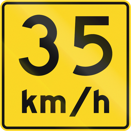 35: A road sign in Canada - Speed limit 35 kmh. This sign is used in Quebec. Stock Photo