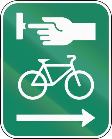 dont walk: Road sign in Canada, instructing cyclists to use the crosswalk signal. This sign is used in Quebec.