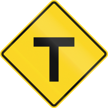arrow sign: Canadian road warning sign - T-Intersection ahead. This sign is used in Ontario. Stock Photo
