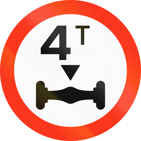 axle: Bangladeshi traffic sign prohibiting throroughfare of vehicles with a load over 4 tons on each axle.