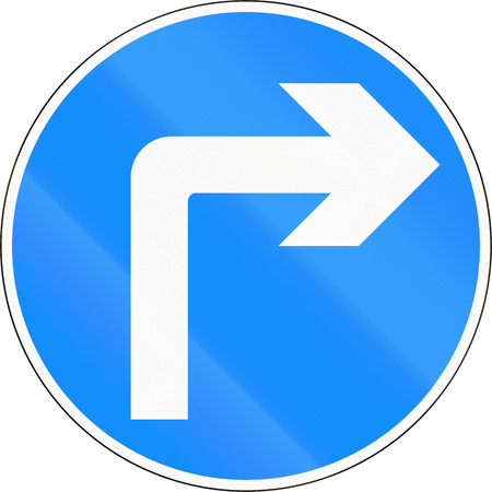 right handed: Bangladeshi traffic sign - Turn right ahead Stock Photo