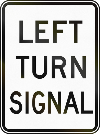 turn left sign: Regulatory sign in Canada - Left turn signal. This sign is used in Ontario. Stock Photo