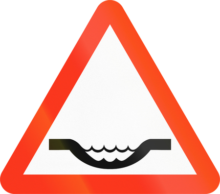 pot hole: Warning road sign in Bangladesh: Road dip or ford Stock Photo