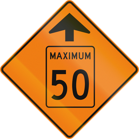 kmh: Temporary road sign in Canada - Speed limit 50 Kmh Ahead. This sign is used in Quebec.