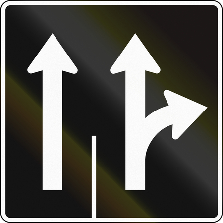 right handed: Lane management sign in Canada - Two lanes straight and right. This sign is used in Quebec.