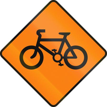 signos de precaucion: Irlandés de carreteras temporal señal de advertencia - bicicletas cruzando Foto de archivo