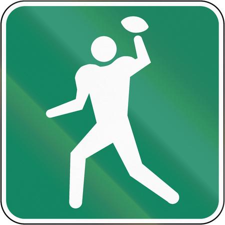 campo calcio: Guida e informazioni segno su strada in Quebec, Canada - Campo di calcio.