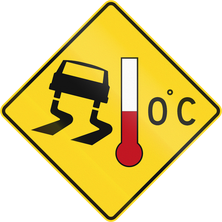skidmarks: Canadian road warning sign - slip danger when cold. This sign is used in Quebec.