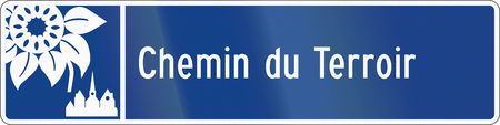 terroir: Guide and information road sign in Quebec, Canada - Local route. Stock Photo