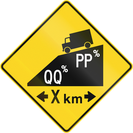 right handed: Canadian road warning sign - Hill or steep grade with multiple sections ahead. This sign is used in Quebec.