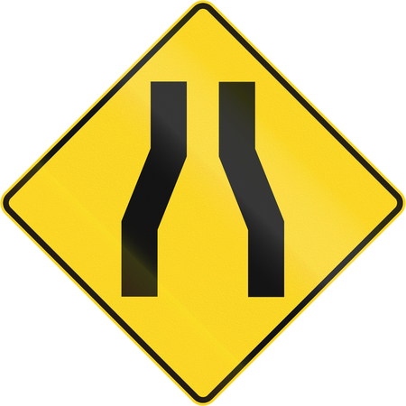 one lane roadsign: Canadian road warning sign - One lane roadnarrow road ahead. This sign is used in Quebec.