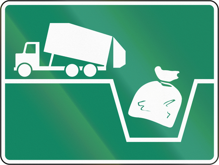 sack truck: Guide and information road sign in Quebec, Canada - Waste dump. Stock Photo