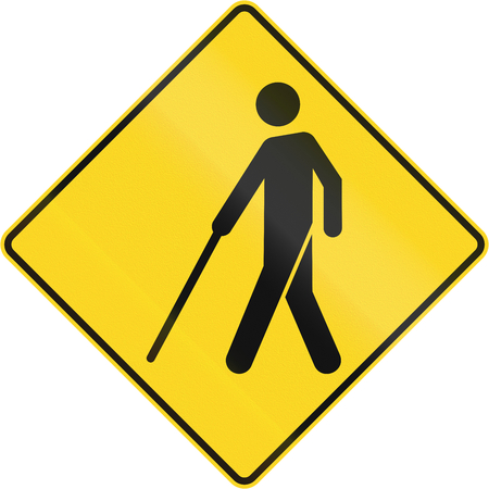 left handed: Warning road sign in Canada - Blind people. This sign is used in Quebec.