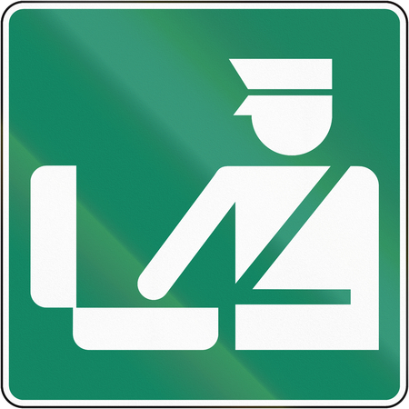 customs official: Guide and information road sign in Quebec, Canada - Customs office.